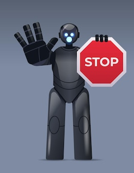 Robot cyborg holding red stop sign robotic character showing no entry hand gesture artificial intelligence technology