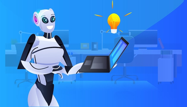 Robot cyborg using laptop modern robotic character with bright bulb new project creative idea artificial intelligence