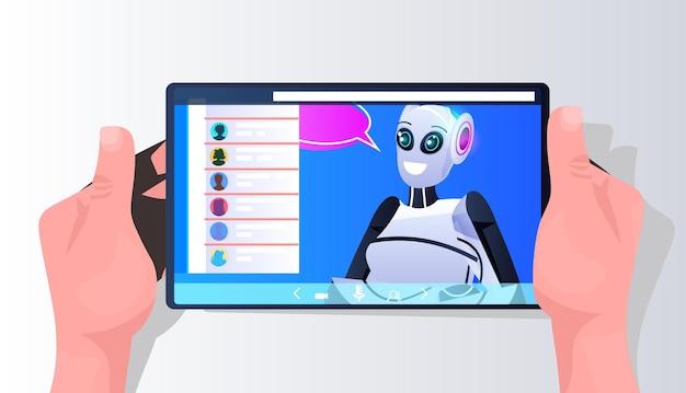 스마트폰 화면에 채팅 거품이 있는 로봇 사이보그 온라인 통신 인공 지능 기술 개념 가로 세로 벡터 일러스트 레이 션