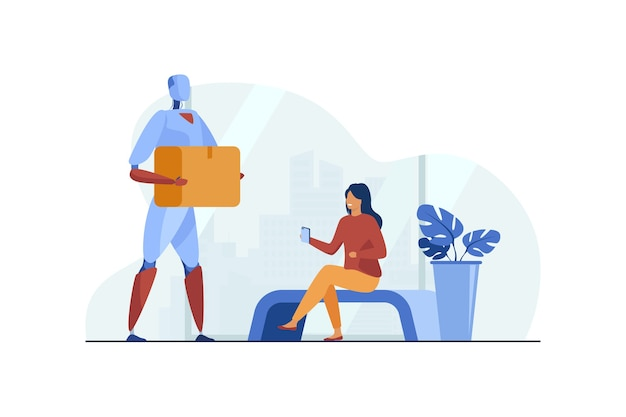 Robot delivering parcel to woman flat illustration.