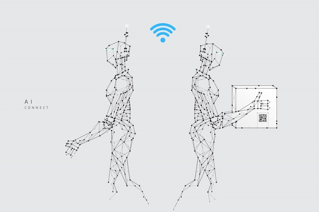 다각형 와이어 프레임 스타일의 로봇 제공