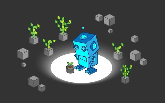 Робот открывает молодое растение среди цифровых деревьев и камней иллюстрации