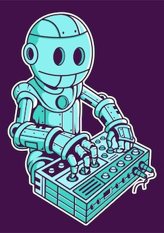 Robot dj hand drawn illustration