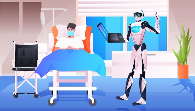 Robot doctor with laptop consulting patient lying in bed modern hospital clinic ward interior medicine healthcare