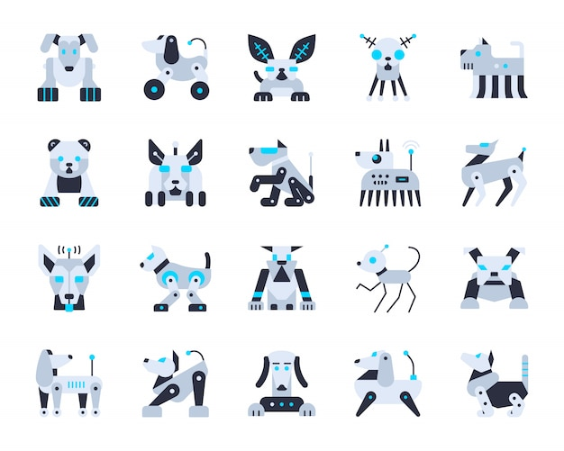 Robot dog artificial intelligence icons set, pet character transformer, robotic animal, cyborg.