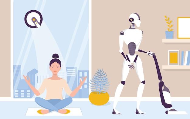 집안일을하는 로봇. 로봇 하우스 키핑. 집 청소를하는 로봇. 미래의 기술과 자동화. 삽화