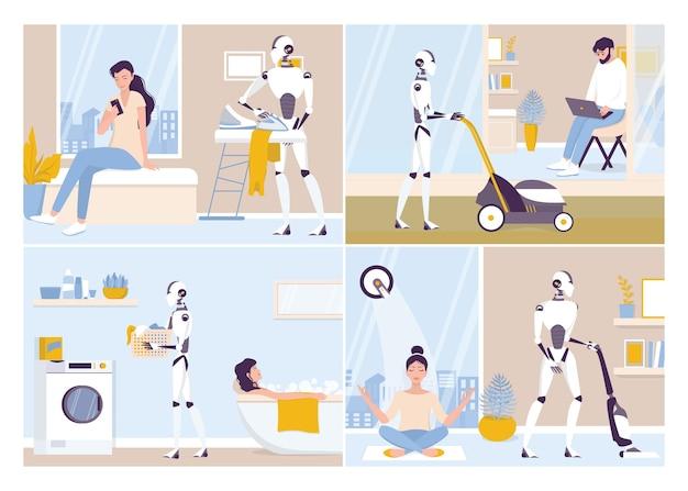 집안일을하는 로봇. 로봇 하우스 키핑. 집 청소, 세탁을하는 로봇. 미래의 기술과 자동화. 일러스트 세트