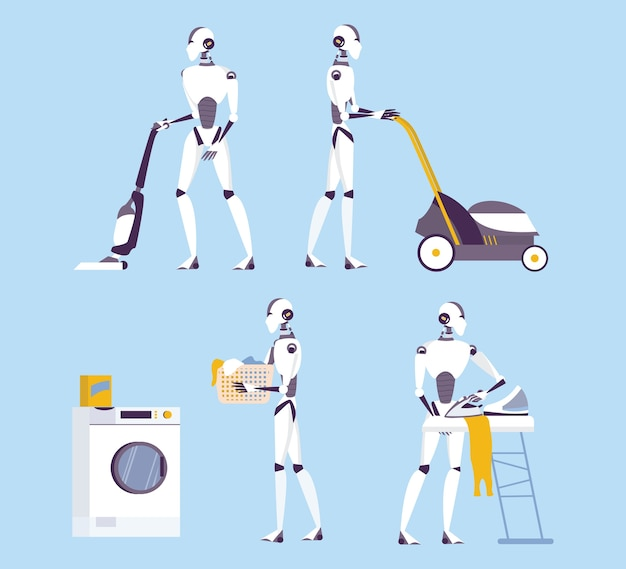 Robot doing housework. robotic housekeeping. robot doing home cleanup, laundry. futuristic technology and automation. set of   illustration