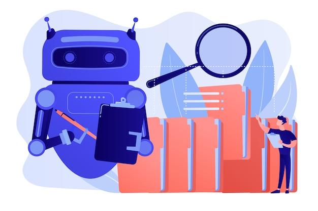 たくさんのフォルダと拡大鏡で繰り返し可能なタスクを実行するロボット。ロボットプロセスの自動化、サービスロボットの利益、自動処理の概念