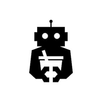 ロボットドリンクカフェサイボーグ自動ネガティブスペースロゴベクトルアイコンイラスト