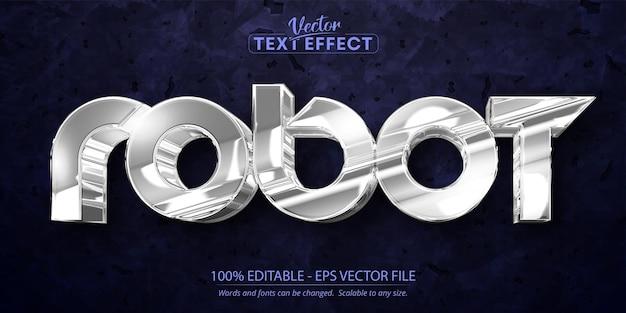 Редактируемый текстовый эффект робота, блестящий серебристый цвет и металлический стиль шрифта