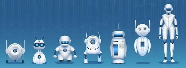 Robot evolution. artificial intelligence technology development timeline from simple bot to humanoid android. tech innovation vector concept. illustration futuristic modern evolution technology