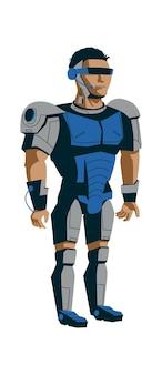 Эволюция роботов, человек в металлическом экзоскелете, мультяшный вектор технологического прогресса искусственного интеллекта в синем цвете разработка роботов