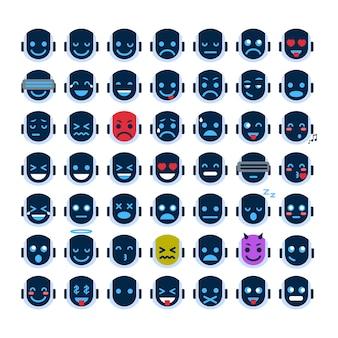 로봇 얼굴 아이콘 설정 웃는 얼굴 다른 감정 컬렉션 로봇 이모티콘 프리미엄 벡터