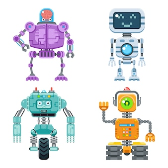 Robot flat icons  set. machine technology ai, intelligence artificial cyborg, science robotic
