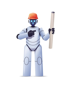 Robot foreman engineer in hardhat holding construction drawings modern robotic architect with blueprints artificial intelligence technology