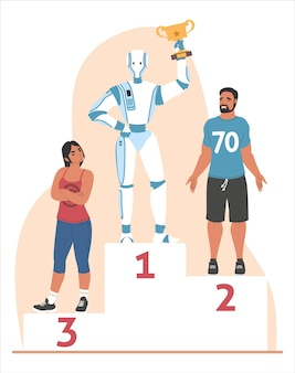 Robot getting first place and celebrating victory standing on winner pedestal with trophy cup, flat vector illustration. robot machine winning competition. artificial intelligence concept.