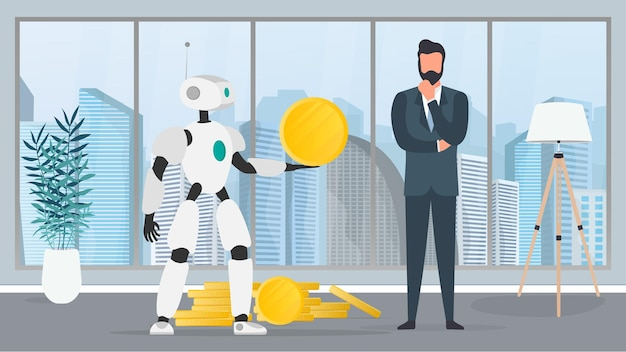 The robot gives a gold coin to a businessman. the robot brings profit to the business. the concept of earnings, profit and wealth. vector.