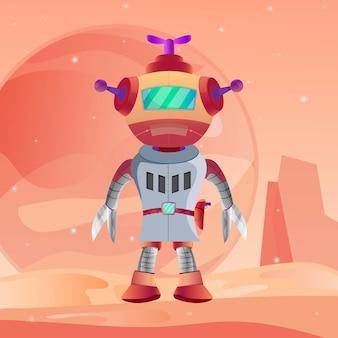 Robot guardians planet mars illustration vector premium