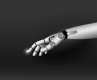 Robot hand 3D illustration background technology