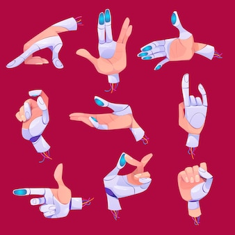 Robot hand gestures in different positions set.