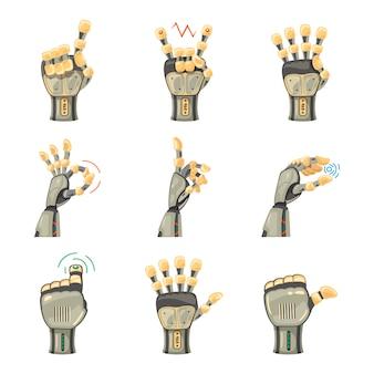 Жесты рук робота. роботизированные руки. символ машиностроения машиностроения. набор жестов рук. футуристический. большая рука робота. приметы. иллюстрация на белом фоне.