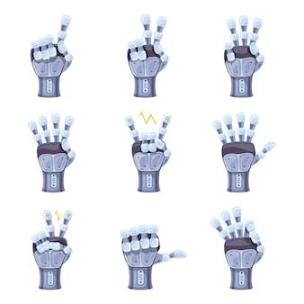 ロボットの手のジェスチャー。ロボットハンド。