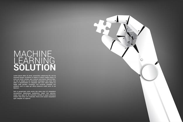 Robot hand hold jigsaw.