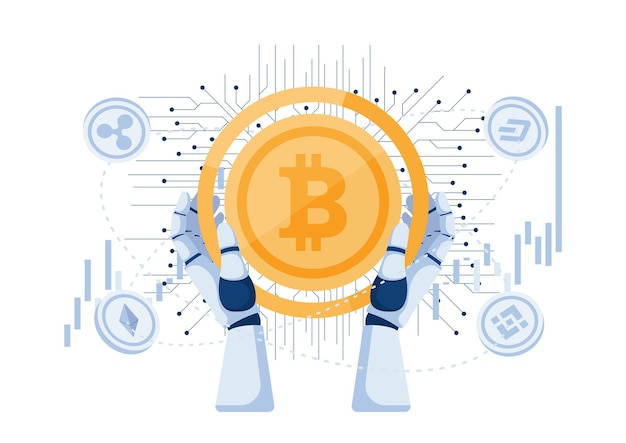 Robot hand holding bitcoin and other cryptocurrency. cryptocurrency trading bot and digital currency investment concept.