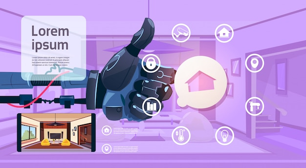 Robot hand holding thumb up over smart house monitoring interface technology of home management concept
