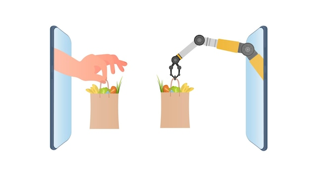 Рука робота держит бумажный пакет с продуктами. рука нежно держит сумку. концепция интернет-покупок, мобильный телефон и продукты для рук на белом фоне. вектор.