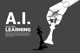 ロボットの手がチェスの駒をキングにチェックメイトします。