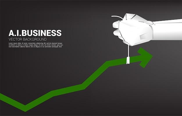 Рука робота переместилась, вытянула бизнес-график выше. бизнес-концепция для машинного обучения, искусственного интеллекта и разрушения.