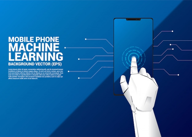 Robot hand touch on screen of mobile phone.