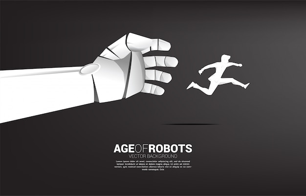 Robot hand try to grab businessman . business concept of disruption of a.i. machine learning.