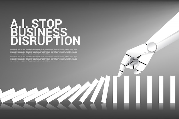 Robot hand try to stop domino effect. business concept of stop disruption