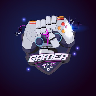 Robot hand with console joystick. gamer logo