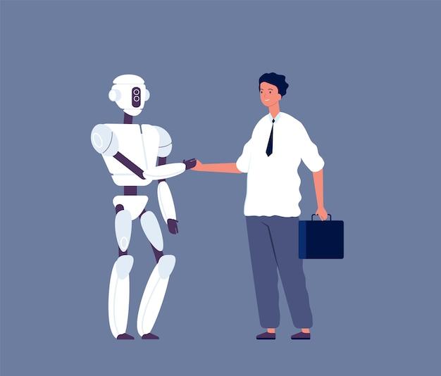 ロボットのハンドシェイク。未来的なアンドロイドキャラクター人間対サイボーグの概念図と会うビジネスマン。ロボットサイボーグ通信ハンドシェイク