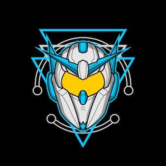 신성한 기하학을 가진 로봇 머리 012