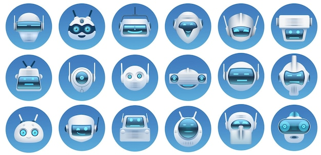 ロボットの頭のアバター。漫画の仮想アシスタント、チャットボットの顔、ロボットのロゴ、絵文字、マスコット。未来的なアンドロイド文字アイコンベクトルセット。イラストバーチャルアシスタント、顔絵文字ヘッドロボット