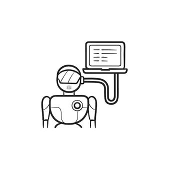 노트북 손으로 그린 개요 낙서 아이콘에 연결된 로봇 머리. 안드로이드, 인공 지능 개념
