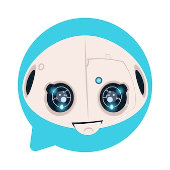 Robot head icon in blue speech bubble support chat bot concept