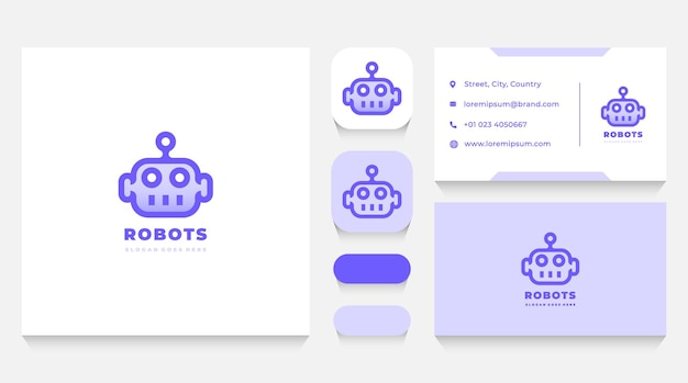 Robot head logo template and business card