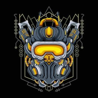 ゲームeスポーツロゴ、ゲームマスコットロゴのモダンな神聖幾何学の背景を持つロボットヘッド