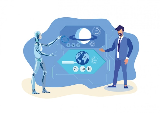 Robot helper, scientist flat vector illustration
