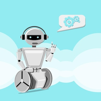 Robot helps to solve problems.customer support chat-bot. vector illustration.