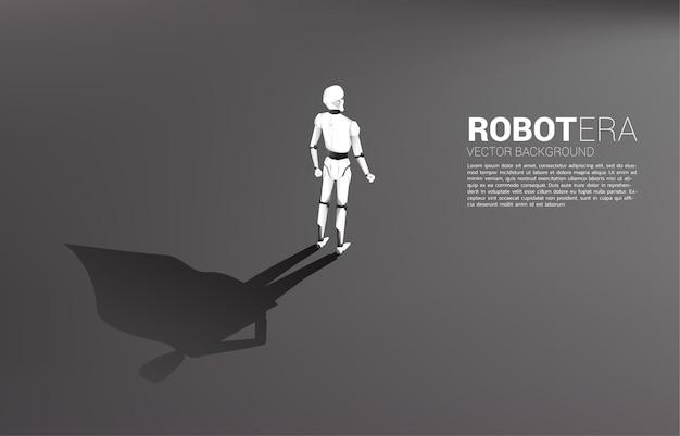 Robot and his shadow of superhero