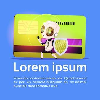 신용 카드 결제 보호 보안 개념 배경 복사 공간 위에 로봇 보류 방패 스탠드