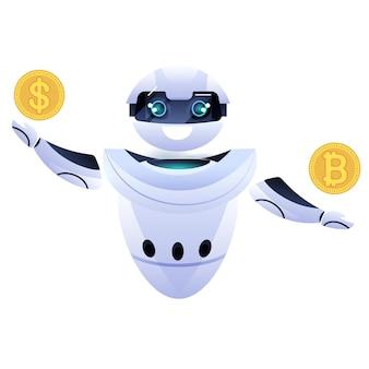 Робот держит биткойн и долларовую монету криптовалюта майнинг веб-денег пассивный доход заработок