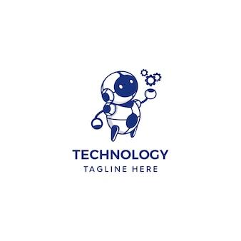 Robot holding gears logo